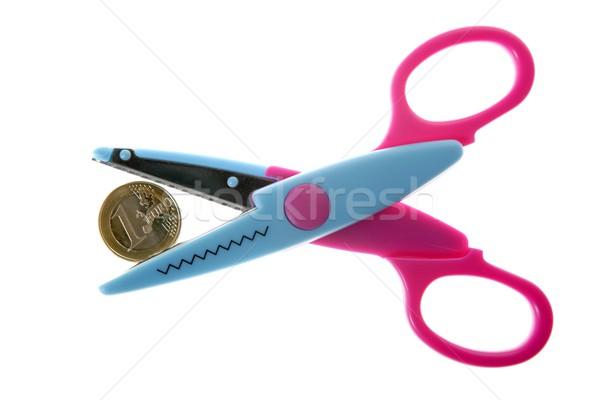 Stock fotó: Euro · valuta · érme · metafora · olló · vág