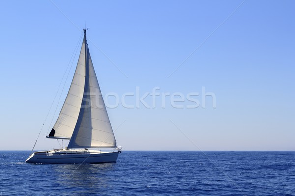 beautiful sailboat sailing sails blue Mediterranean Stock photo © lunamarina