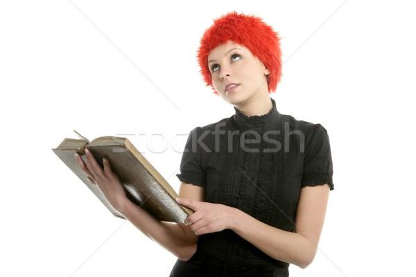 Gyönyörű nő narancs paróka olvas régi könyv izolált Stock fotó © lunamarina