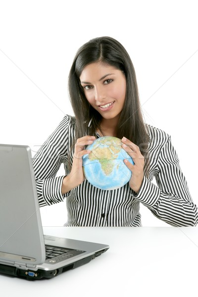 Stock fotó: Barna · hajú · üzletasszony · globális · térkép · kezek · kommunikáció