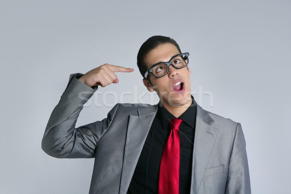 Businessman crazy with funny glasses and suit Stock photo © lunamarina