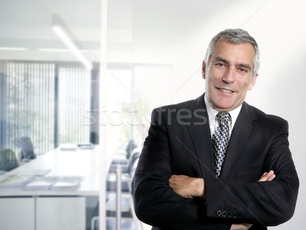 Siwe włosy biznesmen wnętrza biały biuro starszy Zdjęcia stock © lunamarina