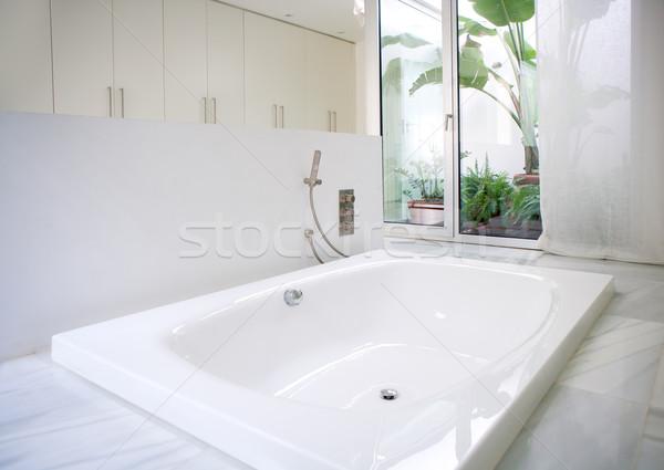 Moderne witte huis badkamer bad dakraam marmer Stockfoto © lunamarina