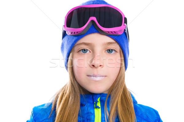 Blond kid meisje winter portret ski Stockfoto © lunamarina