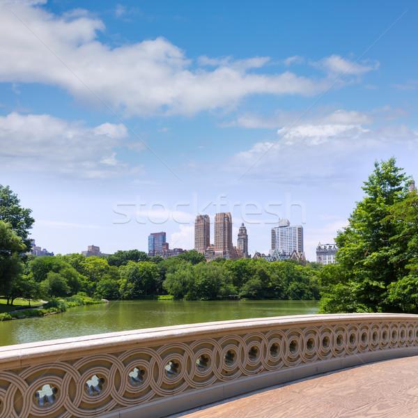 中央公園) 湖 弓 橋 紐約 天空 商業照片 © lunamarina