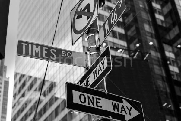 Times Square feliratok New York napfény épület város Stock fotó © lunamarina