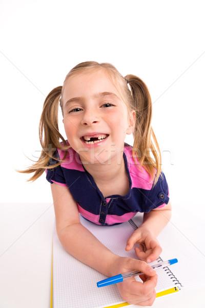 Loiro criança menina estudante spiralis caderno Foto stock © lunamarina