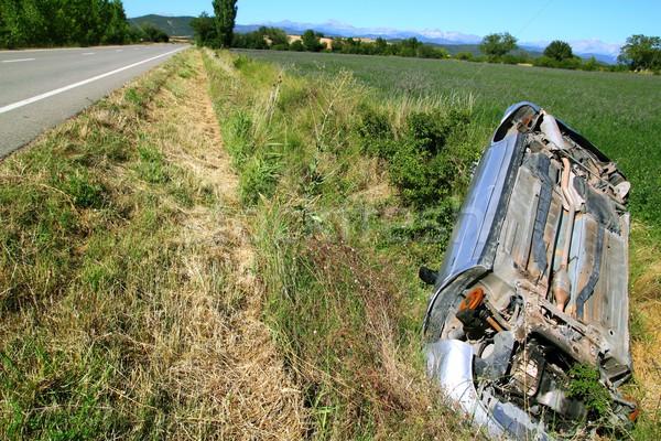 Car crash accident upside down vehicle Stock photo © lunamarina