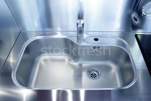 Kitchen silver sink modern decoration house Stock photo © lunamarina