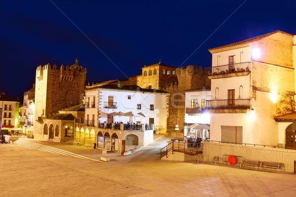 Espagne carré coucher du soleil bâtiment ville construction Photo stock © lunamarina