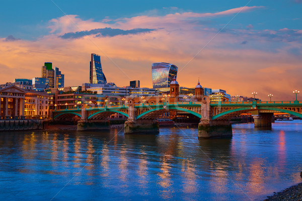 London skyline sunset Southwark bridge UK Stock photo © lunamarina