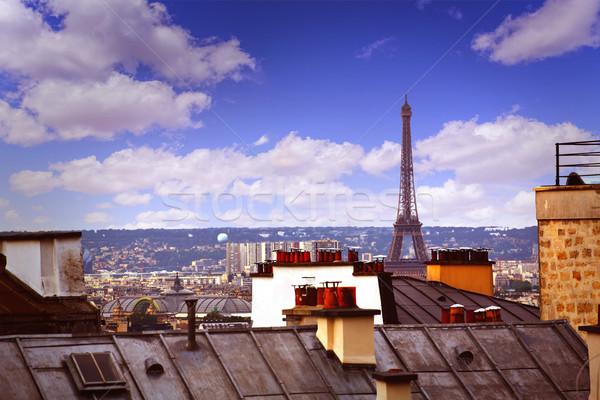 Париж Skyline антенна Монмартр Франция здании Сток-фото © lunamarina