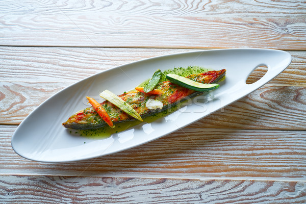 Grilled turbot over wild asparagus Stock photo © lunamarina