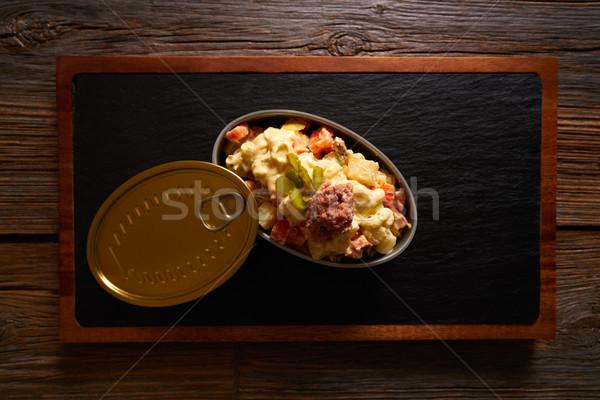 Тапас картофельный салат тунца продовольствие таблице пластина Сток-фото © lunamarina