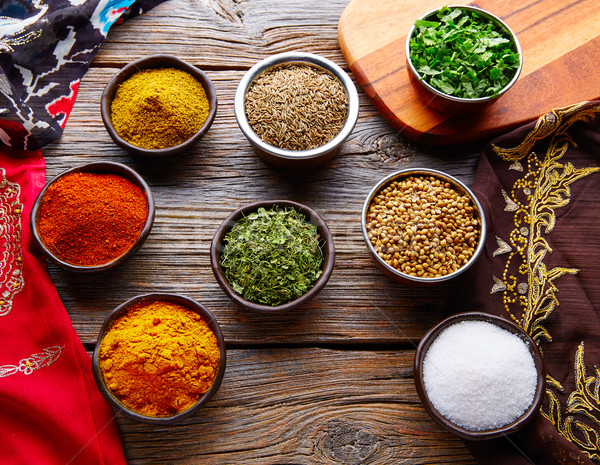 индийская кухня специи кориандр карри кардамон Сток-фото © lunamarina
