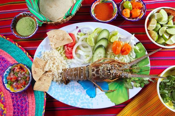 омаров морепродуктов мексиканских стиль Chili плоская маисовая лепешка Сток-фото © lunamarina
