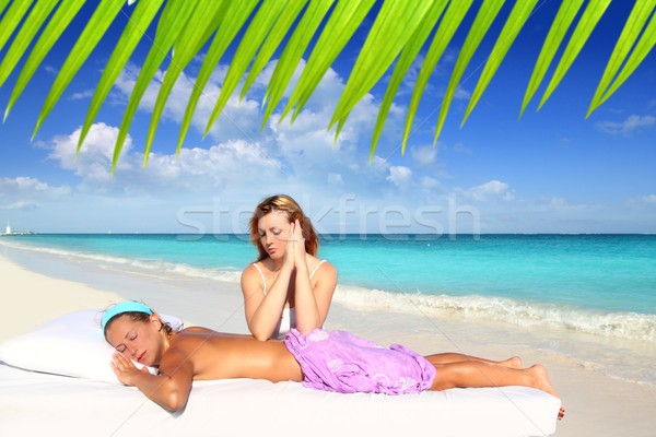 beach massage meditation shiatsu elbows pressure Stock photo © lunamarina