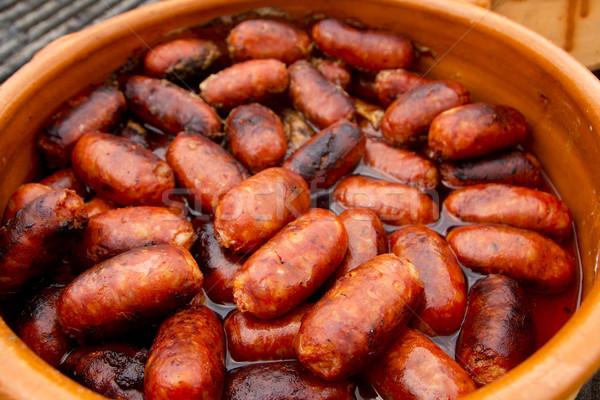 Chorizo vermelho salsicha espanhol alimentos não saudáveis comida Foto stock © lunamarina