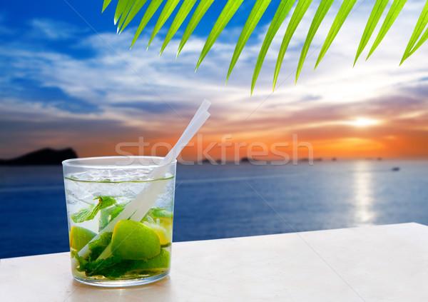 Stock fotó: Naplemente · mojito · ital · koktél · víz · tenger