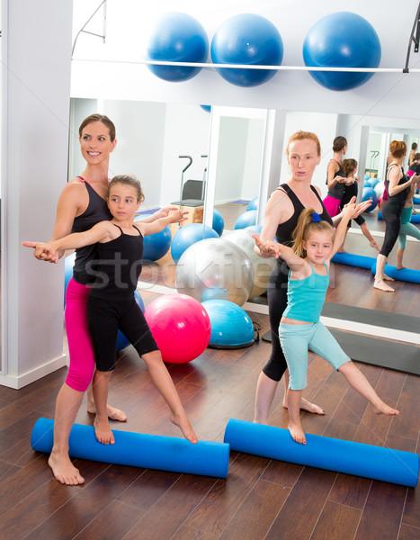 Aerobik pilates kadın çocuk kızlar personal trainer Stok fotoğraf © lunamarina