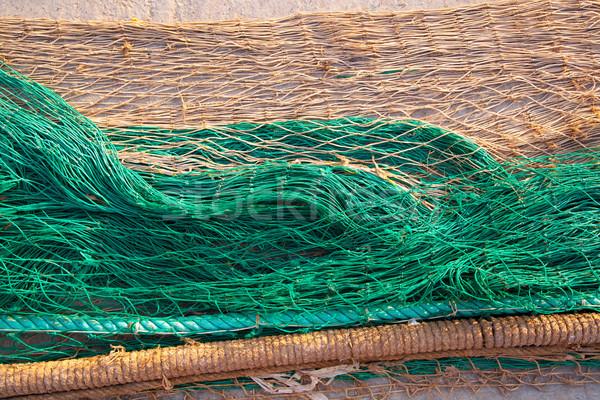 fishing nets texture pattern over soil Stock photo © lunamarina
