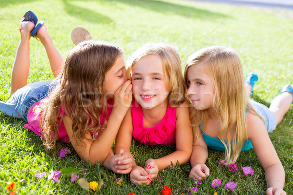 children girls playing whispering on flowers grass Stock photo © lunamarina