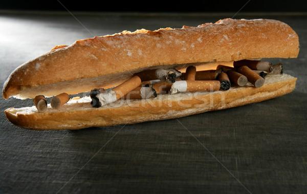 Stock fotó: Dohány · kenyér · szendvics · menü · cigaretta · függőség