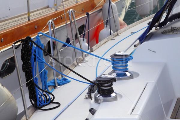 sailboat winches detail moored on marina Stock photo © lunamarina