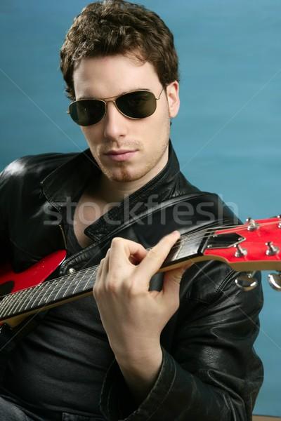 Gitara rock star człowiek okulary skóry Zdjęcia stock © lunamarina