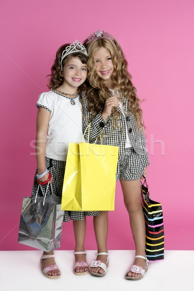 Little shopper humor shopaholic girls Stock photo © lunamarina