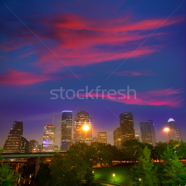 Houston linha do horizonte ocidente ver pôr do sol Texas Foto stock © lunamarina