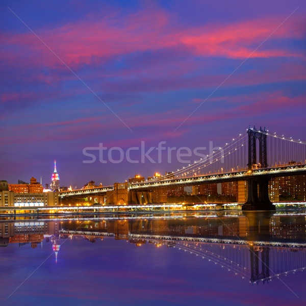 Manhattan Bridge sunset New York NY NYC USA Stock photo © lunamarina
