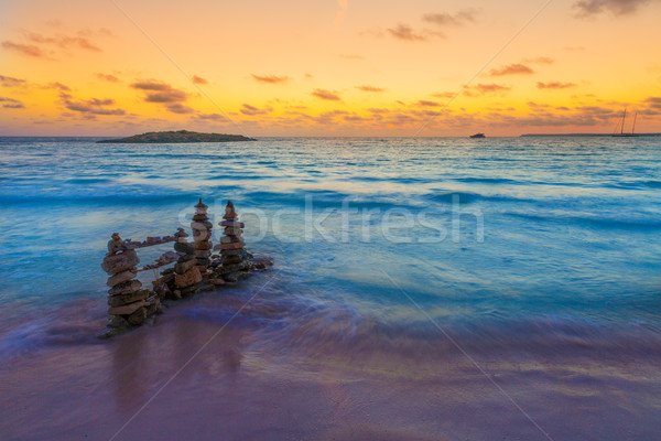 Majorca Sunset in Es Trenc beach in Campos Stock photo © lunamarina