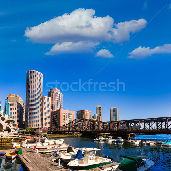 Boston skyline fan pier luce del sole Massachusetts Foto d'archivio © lunamarina