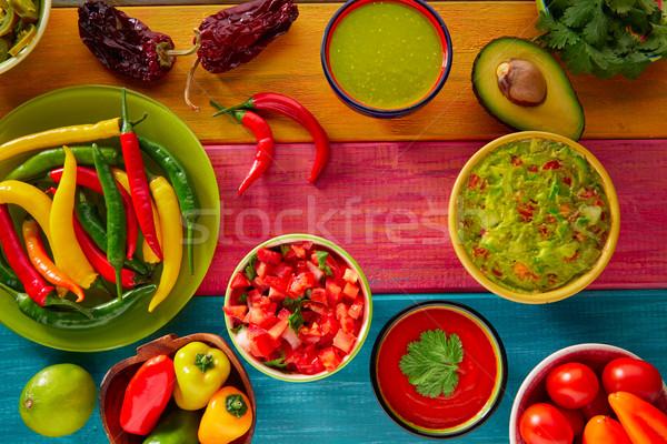 メキシコ料理 混合した ナチョス 唐辛子 ソース チェダー ストックフォト © lunamarina