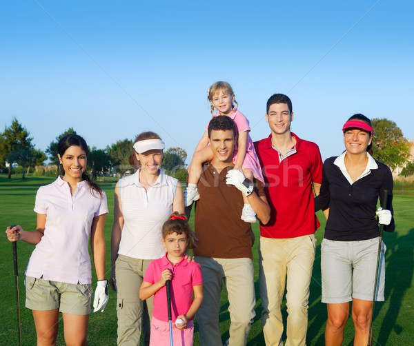 Golf course group of friends people with children Stock photo © lunamarina