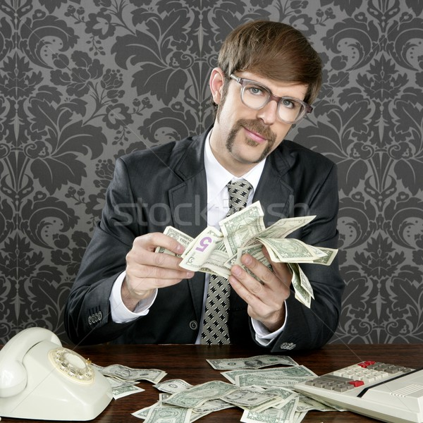businessman nerd accountant dollar notes Stock photo © lunamarina