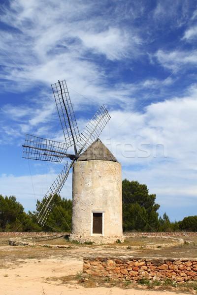 balearic islands windmill wind mills Spain Stock photo © lunamarina