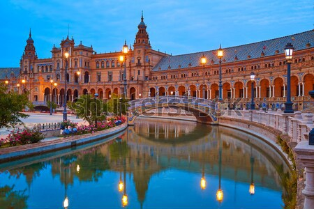 Seville Plaza de Espana sunset Andalusian Sevilla Stock photo © lunamarina