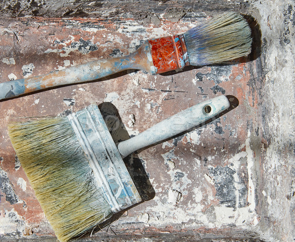 Peinture utilisé grunge seau amélioration maison Photo stock © lunamarina
