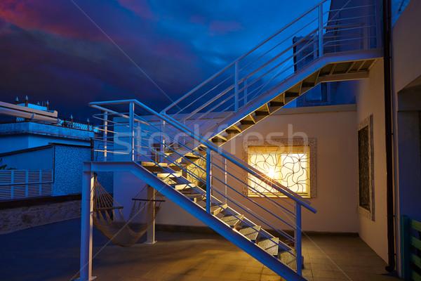 House window light glow in a thunder storm Stock photo © lunamarina