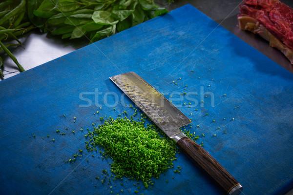 Cebolinha restaurante cozinha azul conselho Foto stock © lunamarina