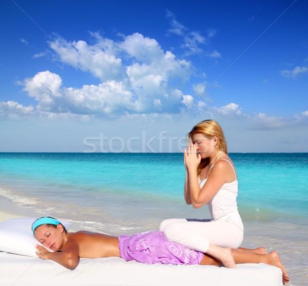 Foto stock: Caribe · playa · masaje · meditación · mujer · paraíso
