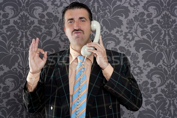 Stock photo: happy ok gesture telephone man retro hand sign