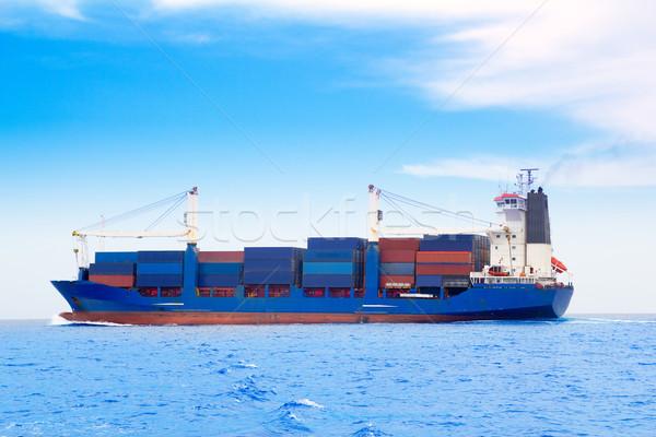 貨物船 青 海 海 ボート 業界 ストックフォト © lunamarina