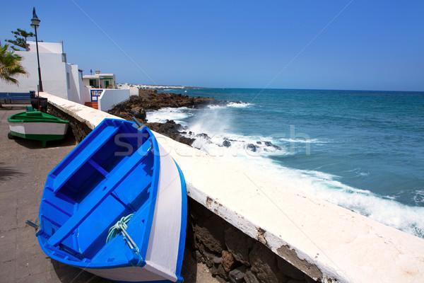 Arrieta Haria boat in Lanzarote coast at Canaries Stock photo © lunamarina