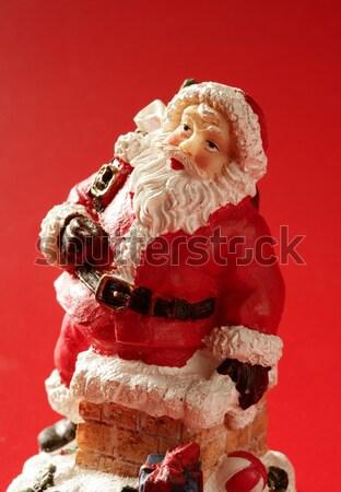 Kerstman beeldje Rood studio gezicht Stockfoto © lunamarina