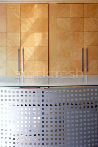 Fából készült iroda lobbi szabadság fém asztal Stock fotó © lunamarina