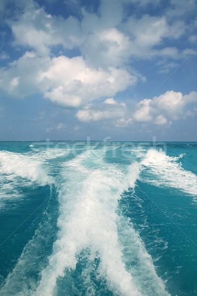 Caribbean blue turquoise sea water boat white wake Stock photo © lunamarina