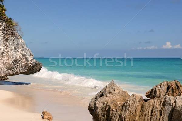 Caribbean turquaise sea view in Tulum Mexico Stock photo © lunamarina